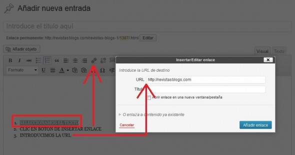 poner anchor text en wordpress
